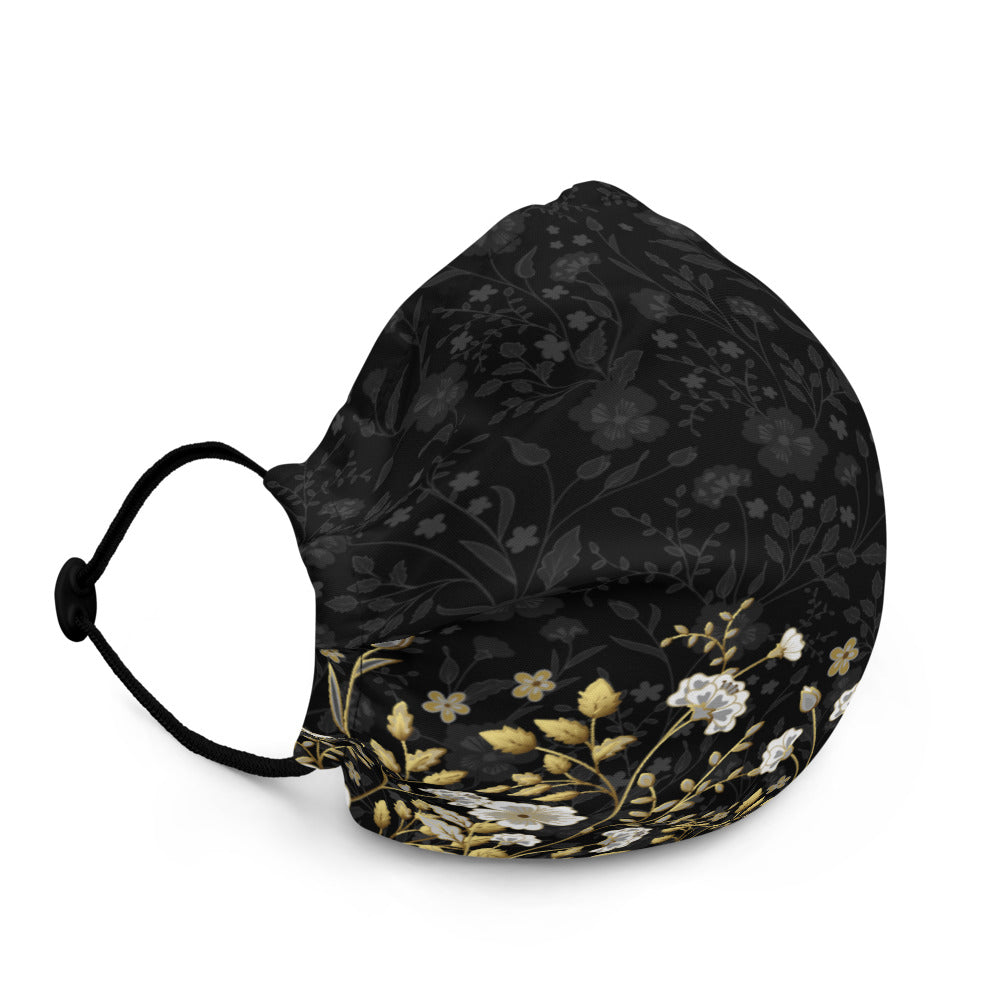 Black Jacquard and Gold Flowers - Premium Face Mask