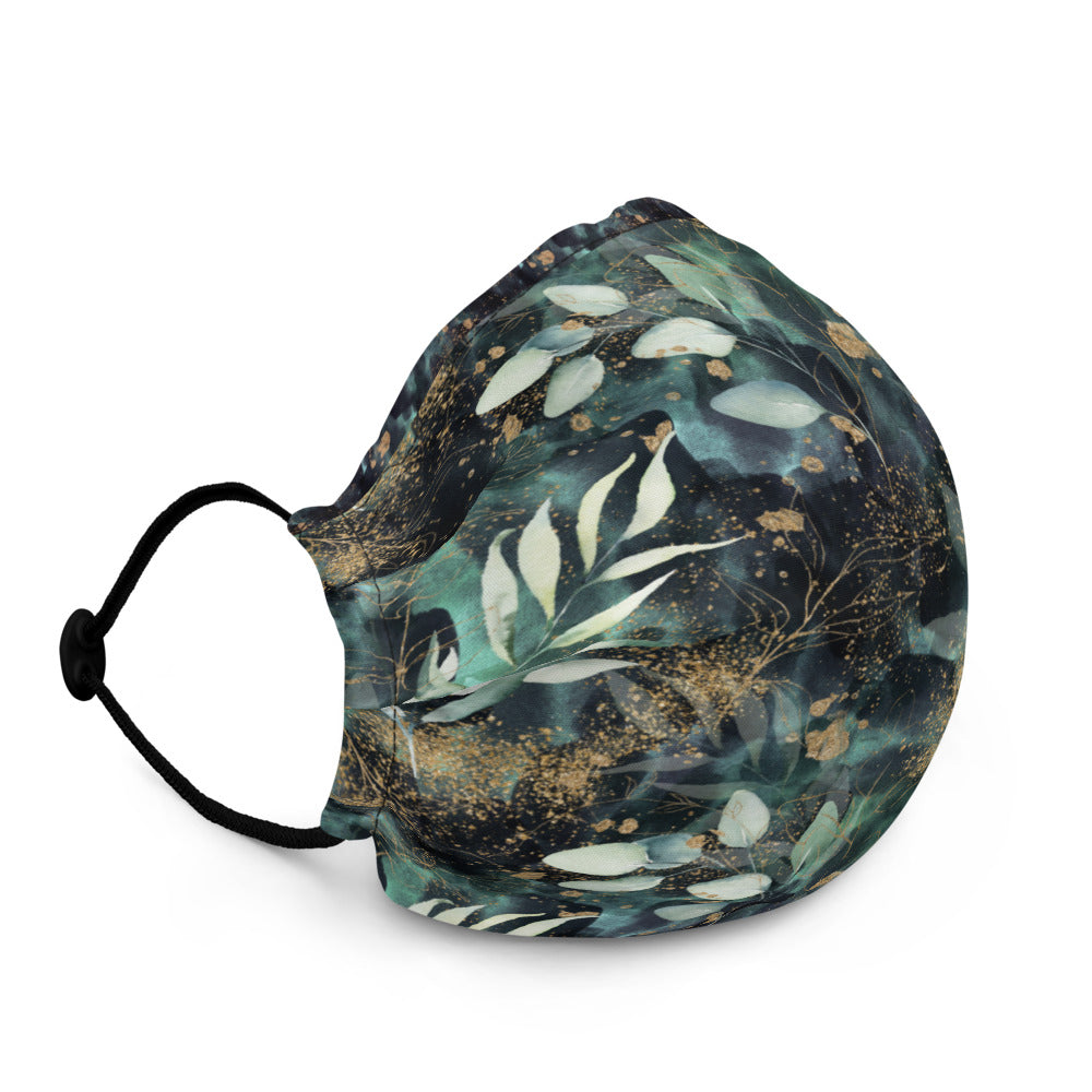 Turquoise, Black and Gold - Premium Face Mask