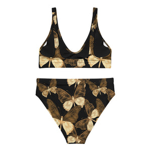 Copper Butterflies - Recycled high-waisted bikini