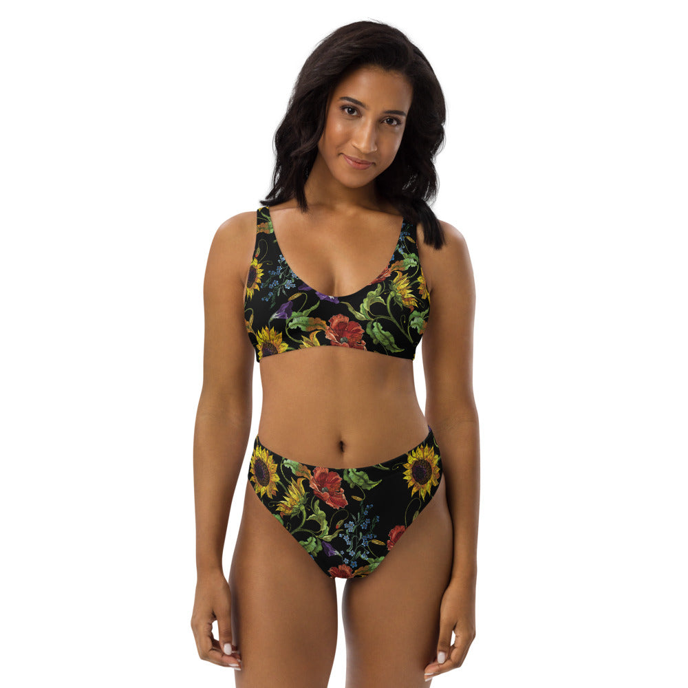"""Embroidered"" Floral on Black - Recycled high-waisted bikini"