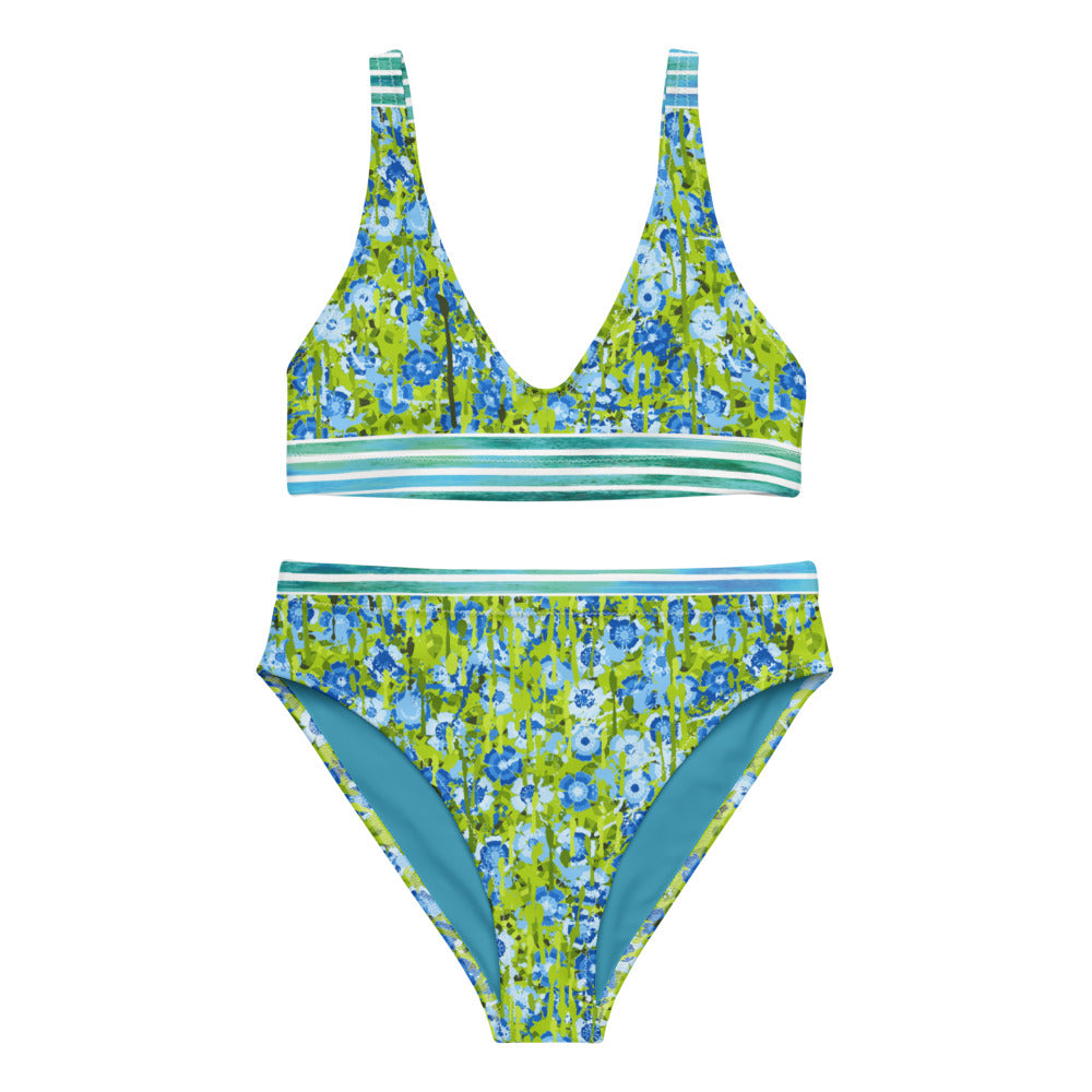 Watercolor Floral - Recycled high-waisted bikini