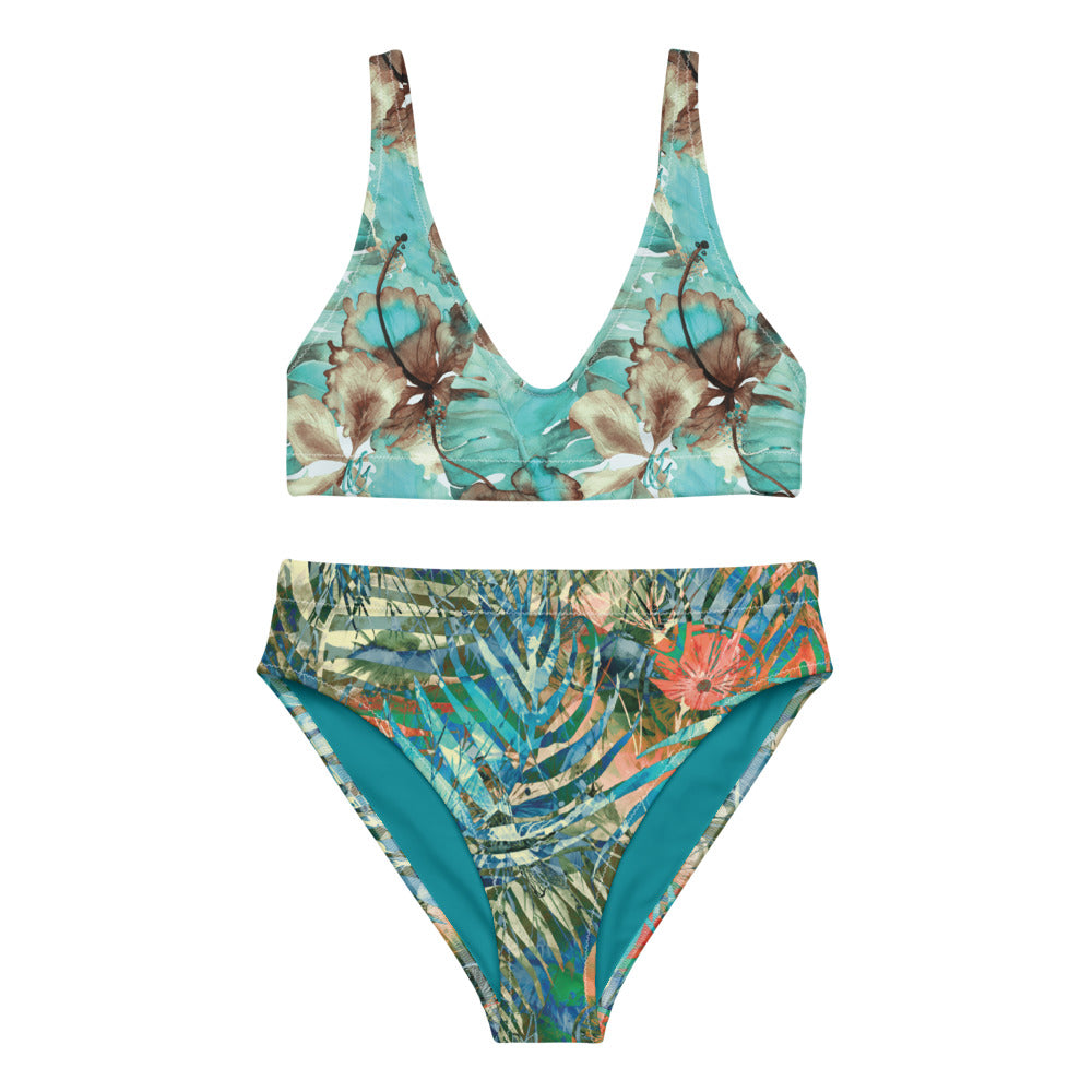 Turquoise Tropical - Recycled High-Waisted Bikini