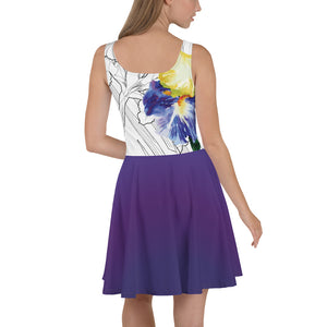 Watercolor Iris on Purple - Skater Dress