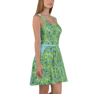 Blue and Green Flowers and Stripes - Skater Dress