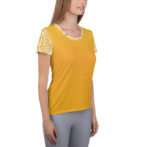 Yellow and Grey Watercolor - Women's Athletic T-shirt