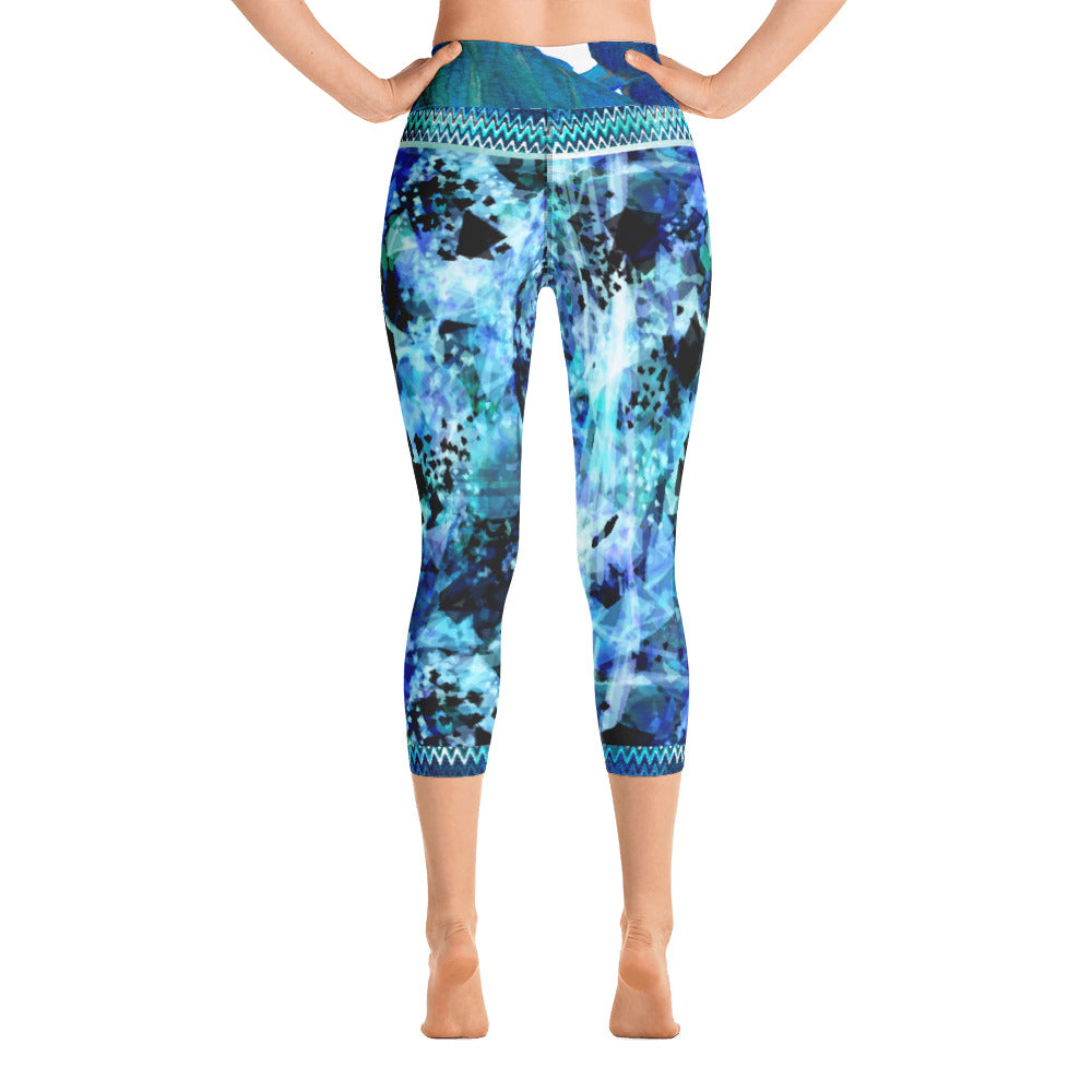 Blues and Black Watercolor Splash - Yoga Capri Leggings