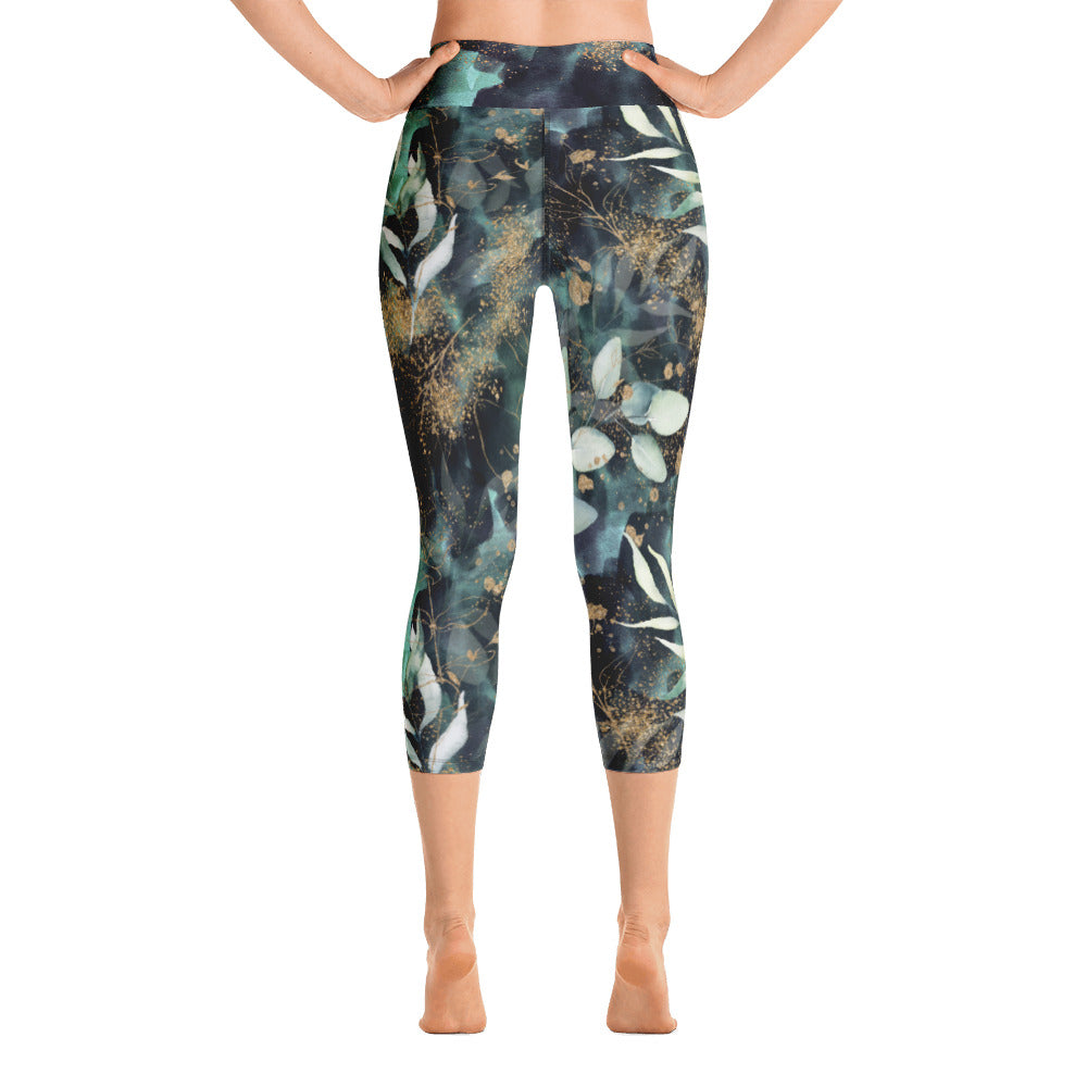 Turquoise, Black and Gold Splatter - Yoga Capri Leggings