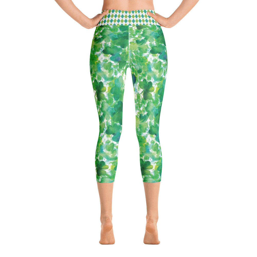 Watercolor Shamrock and Plaid - Yoga Capri Leggings