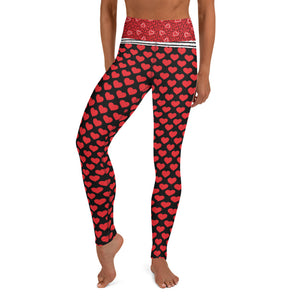 Red Hearts on Black - Valentine's Day - Yoga Leggings