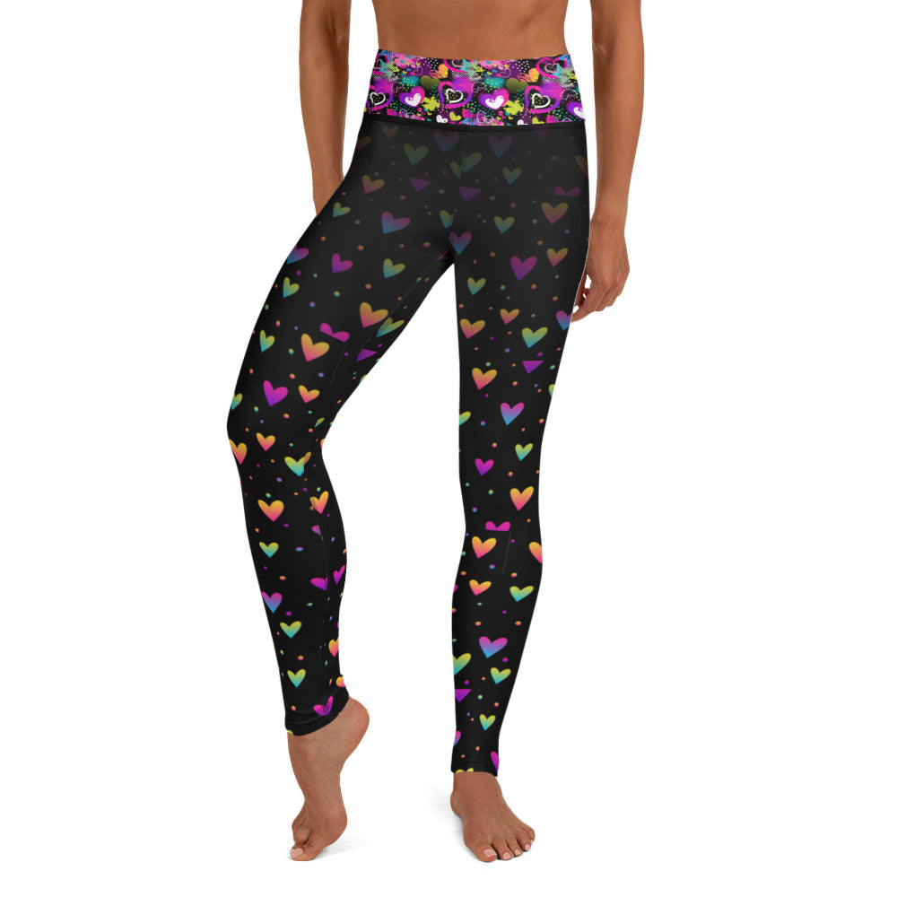 Black and Neon Hearts - Valentine's Day - Yoga Leggings