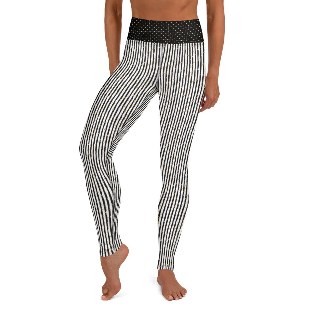 Black Stripes with Gold Hearts - Valentine's Day - Yoga Leggings