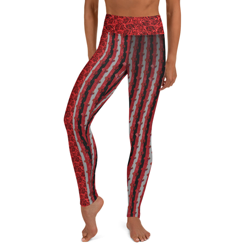 Red Roses and Hearts - Valentine's Day - Yoga Leggings