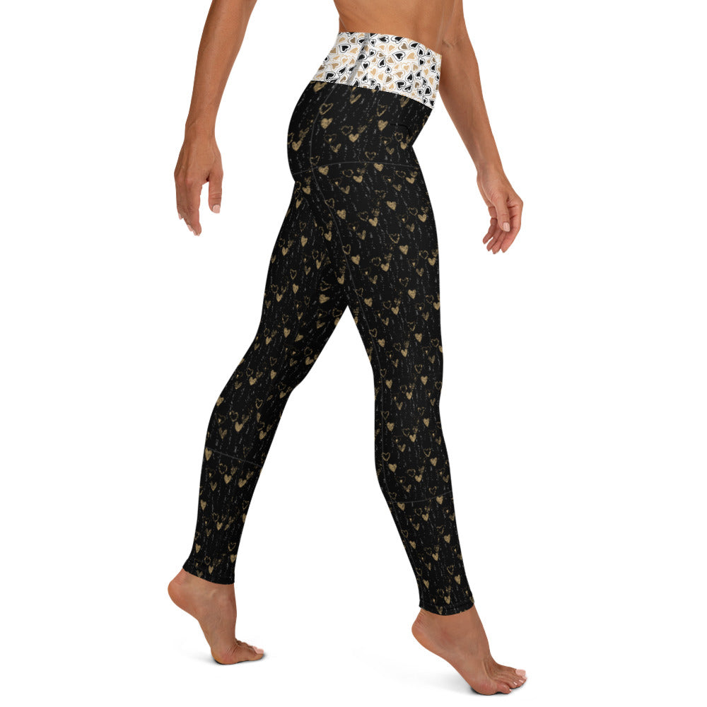 Black and Gold Hearts - Valentine's Day - Yoga Leggings