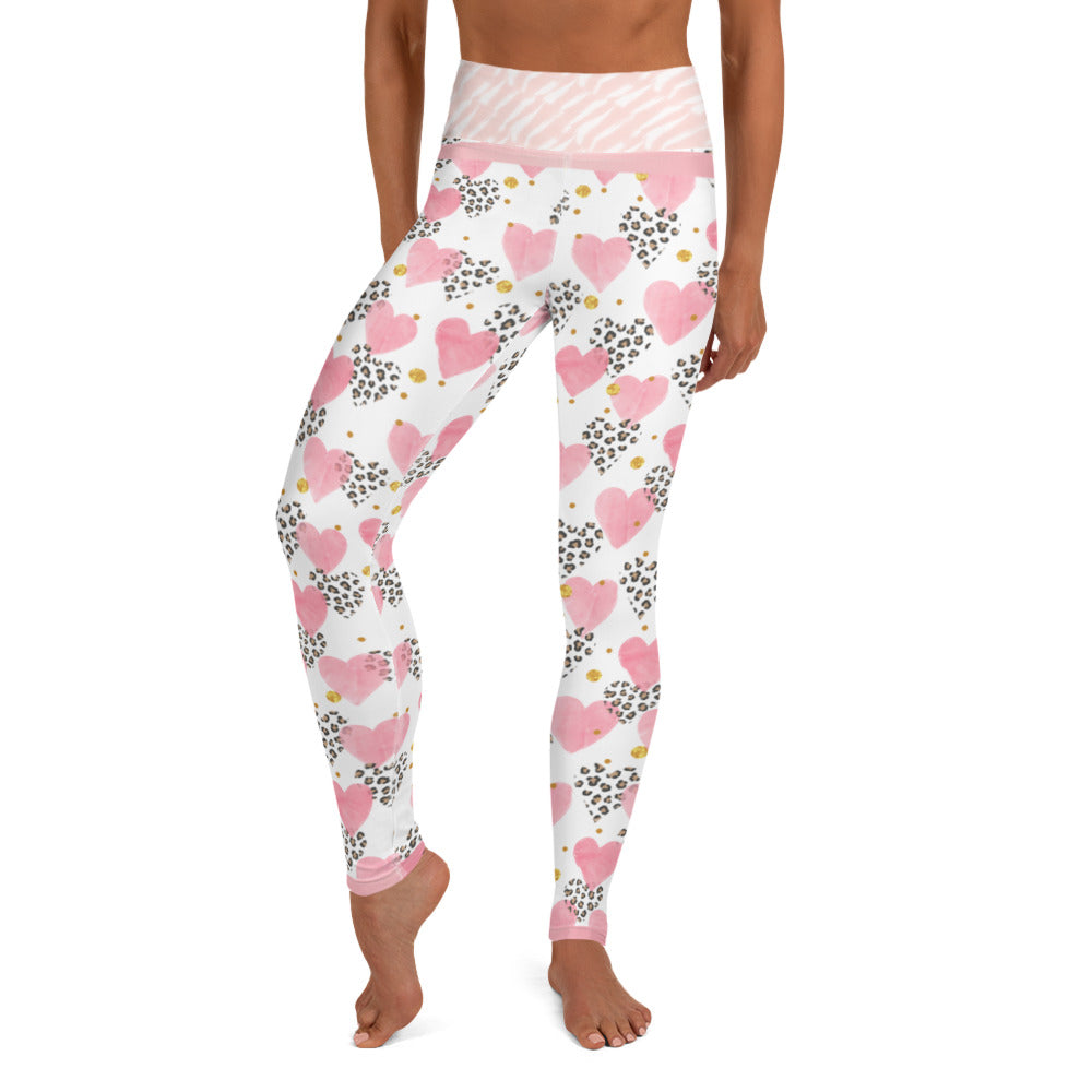 Pink Hearts and Cheetah - Valentine's Day - Yoga Leggings