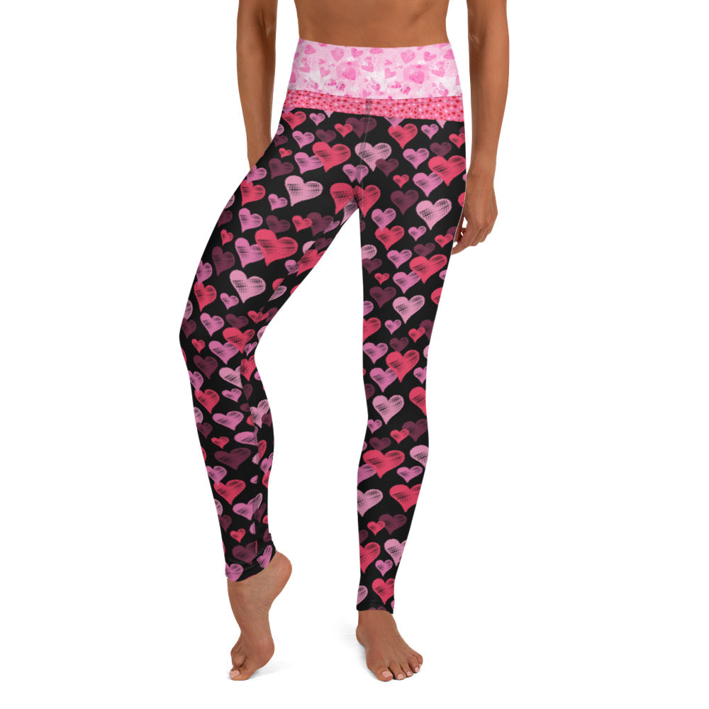 Pink Hearts on Black - Valentine's Day - Yoga Leggings