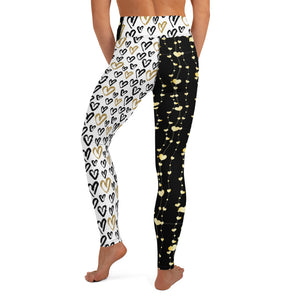 Strings of Black and Gold Hearts - Valentine's Day - Yoga Leggings