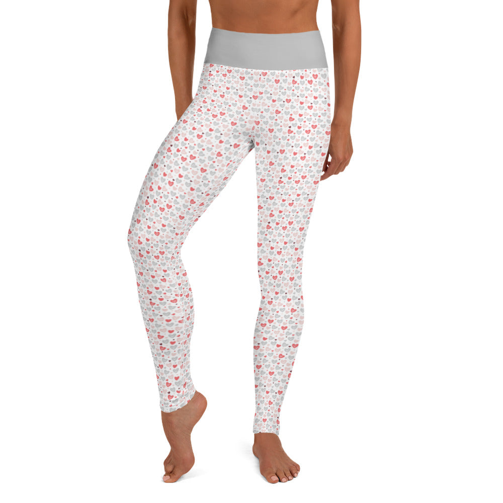 Gray and Pink Candy Hearts - Valentine's Da - Yoga Leggings