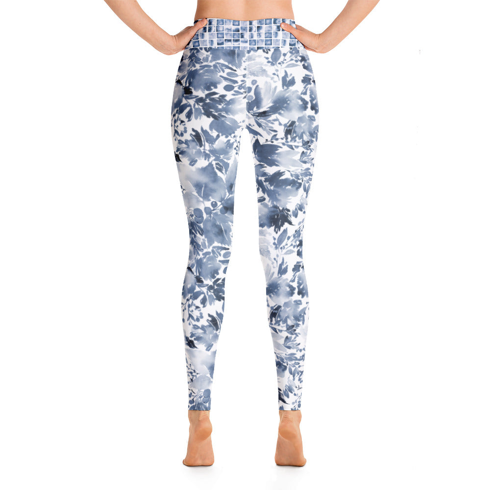 Blue Watercolor Floral - Yoga Leggings
