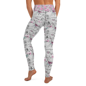 Black and White Unicorns with Pink - Yoga Leggings