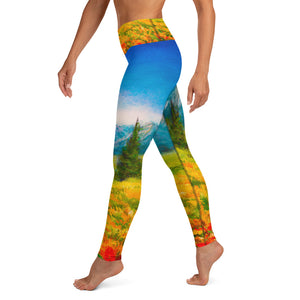 Colorado Mountains Painting - Yoga Leggings
