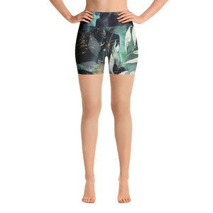 Turquoise, Black and Gold Splatter - Yoga Shorts