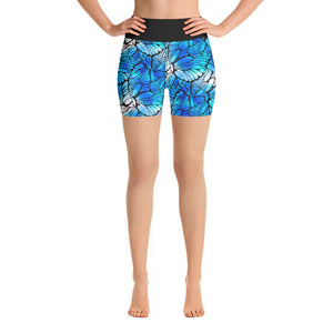 Blue Butterflies - Yoga Shorts