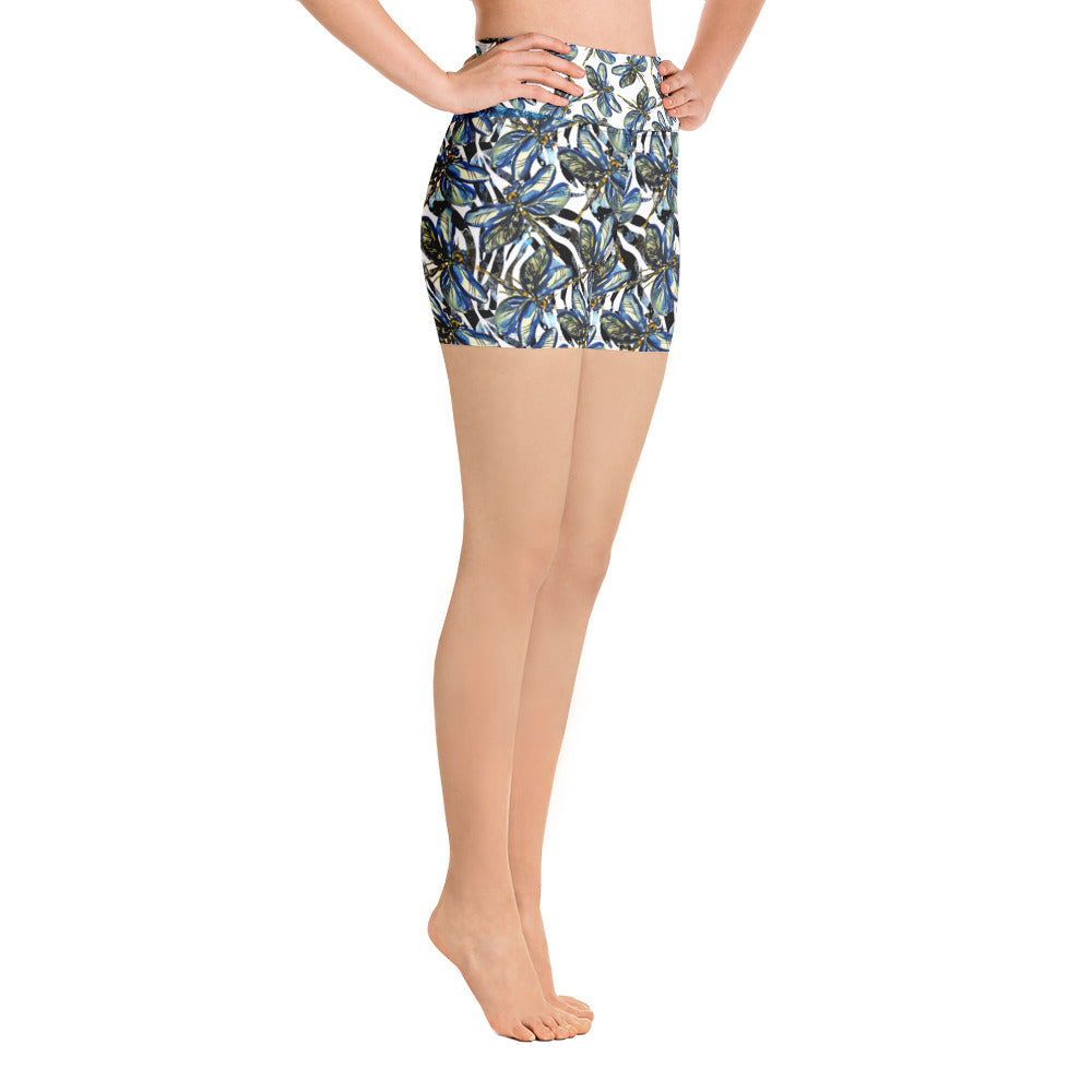 Dragonflies on Zebra - Yoga Shorts