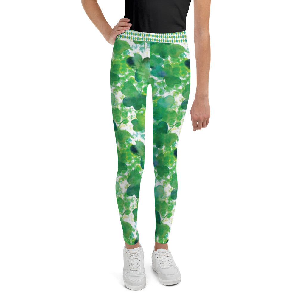 Watercolor Shamrocks and Plaid - Youth Leggings