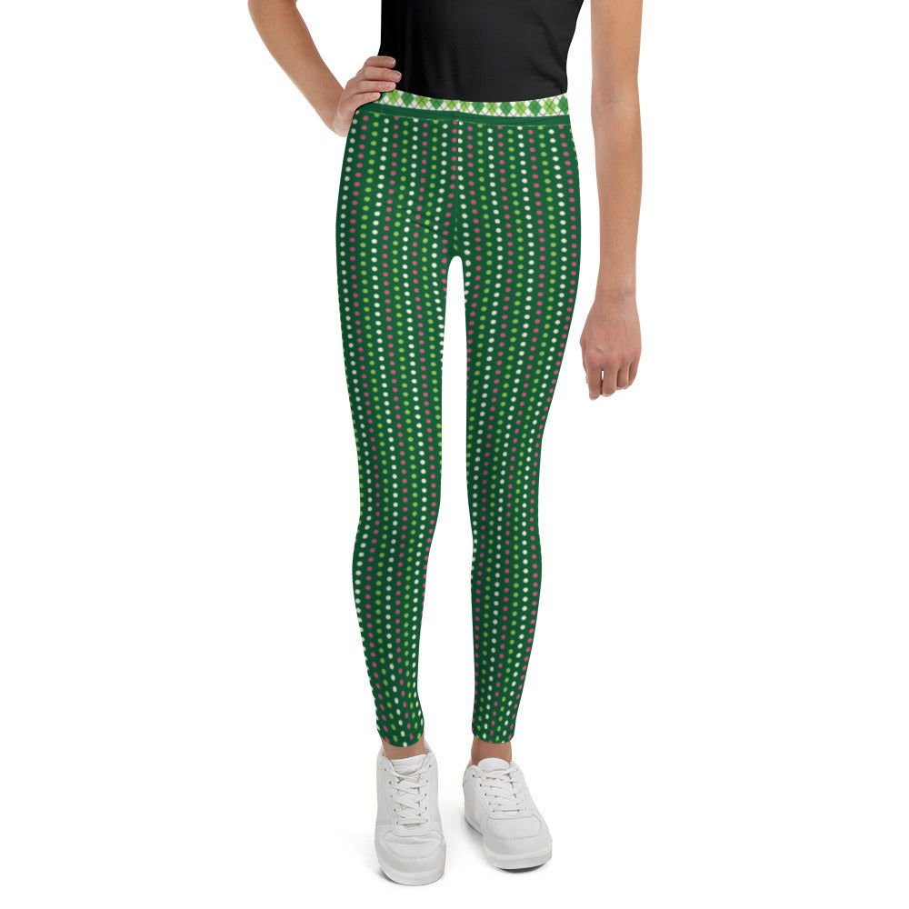 Green and Pink Dots - Youth Leggings