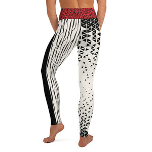 Crazy-Ass Leggings - Black and Cream Geo with Red Cheetah Waist - Yoga Leggings