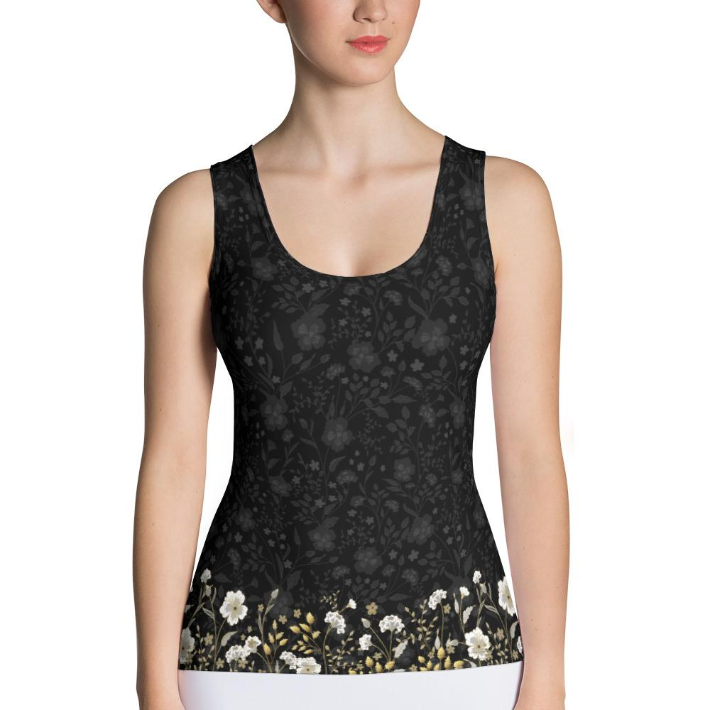 Crazy-Ass Leggings - Jacquard Black and Gold Floral - Tank Top