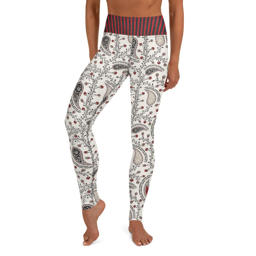 Crazy-Ass Leggings - Black and Red Paisley with Striped waist - Yoga Leggings