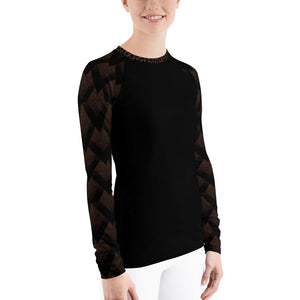 Black Spotted and Geometric on Brown - Women's Rash Guard