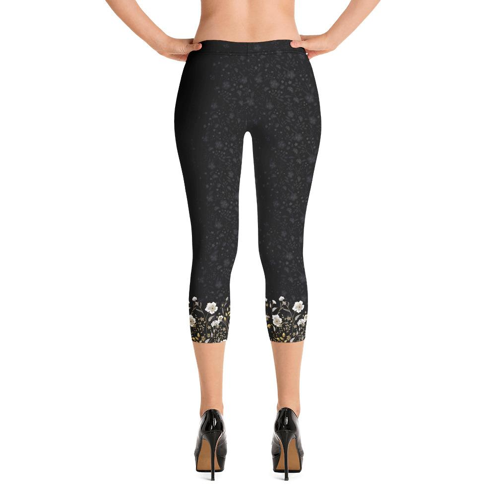 Crazy-Ass Leggings - Jacquard Black and Gold Floral - Capri Leggings