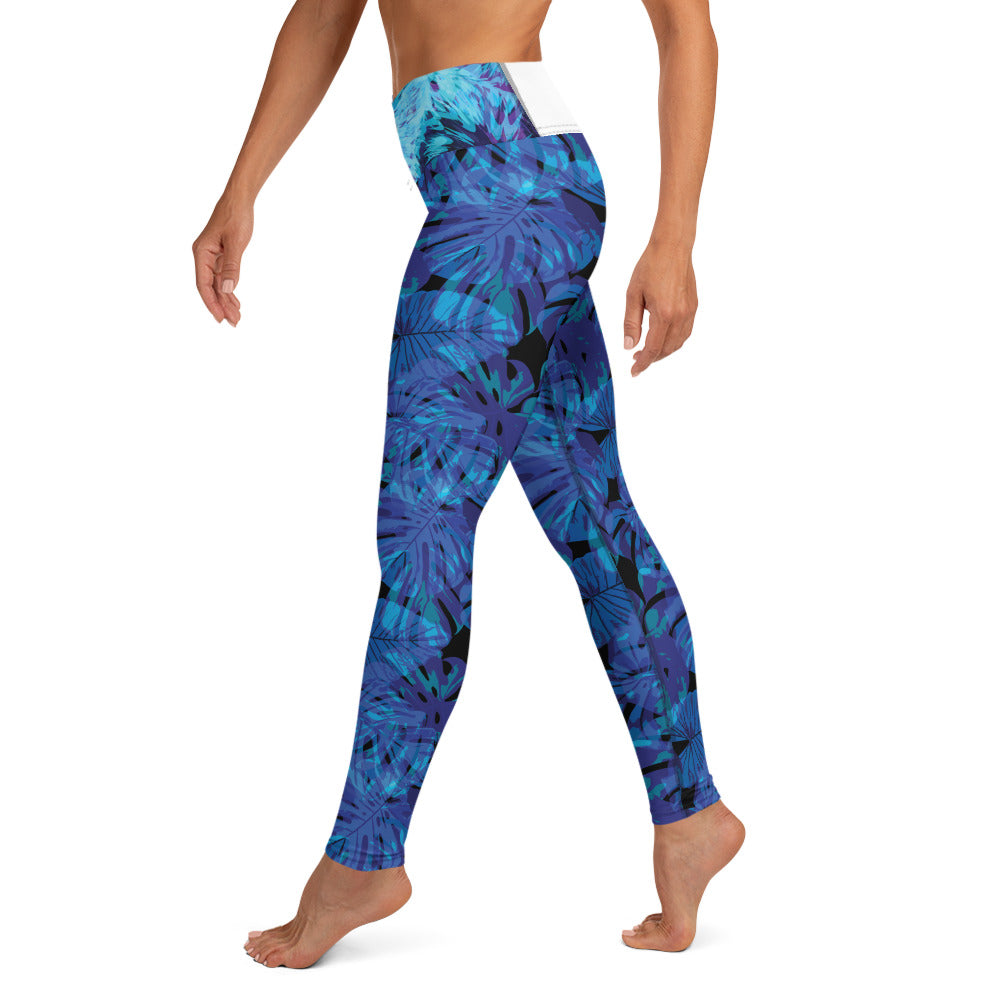 Crazy-Ass Leggings - Blue and Purple Leaves - Yoga Leggings