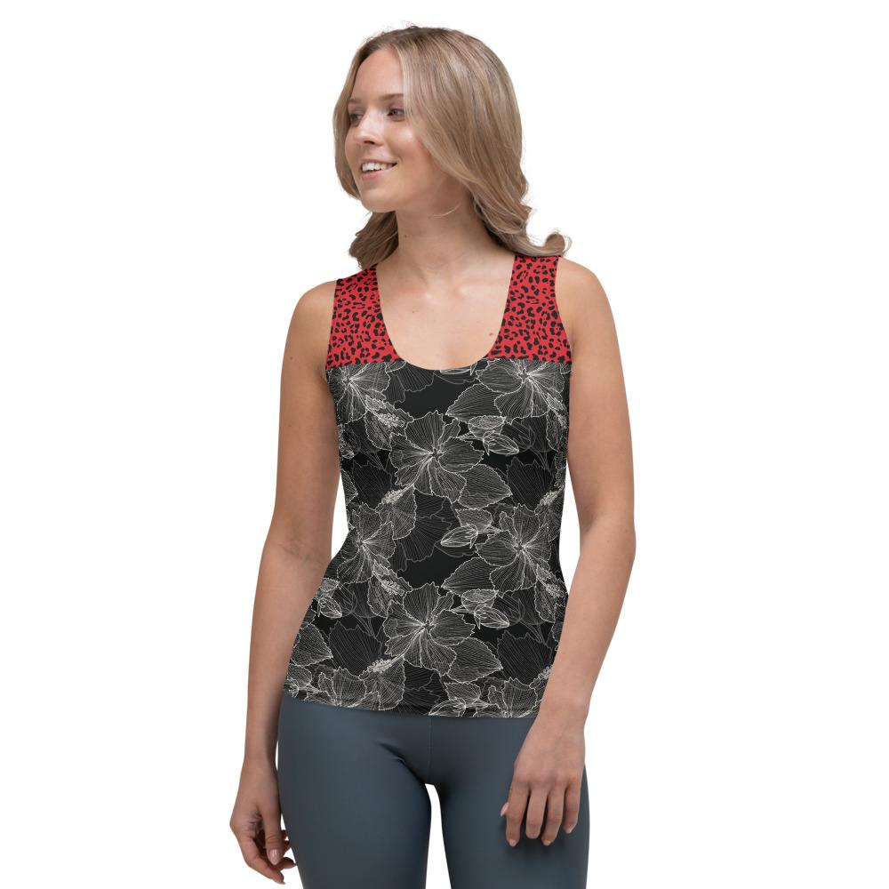 Black Flower and Red Cheetah - Tank Top