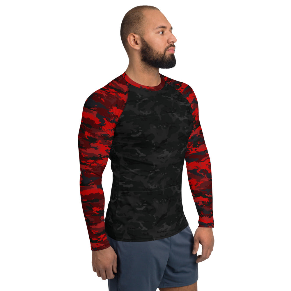 Black and Red Camo - Crazy-Ass Leggings - Men's Rash Guard