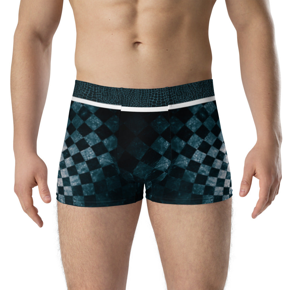 Blue Snake and Checkered Illusion - Crazy-Ass Undies - Men's Boxer Briefs