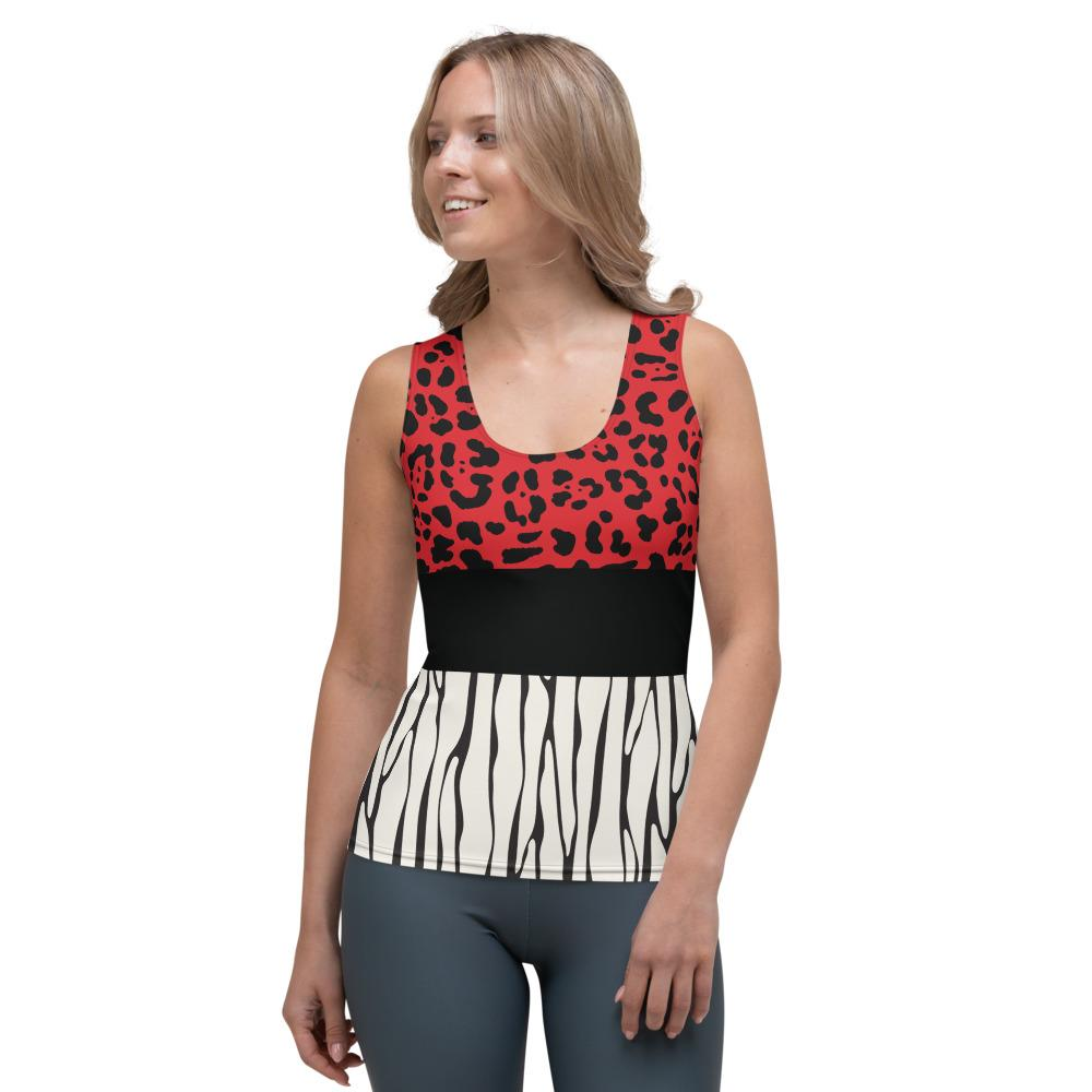 Crazy-Ass Leggings - Red Cheetah and Vertical Stripes - Tank Top