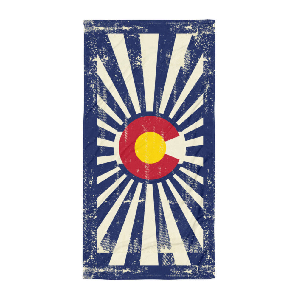 Colorado Flag Grunge - Beach Towel