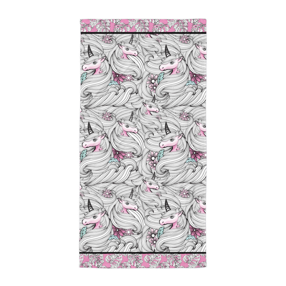 Black and White Unicorns with Pink - Beach Towel