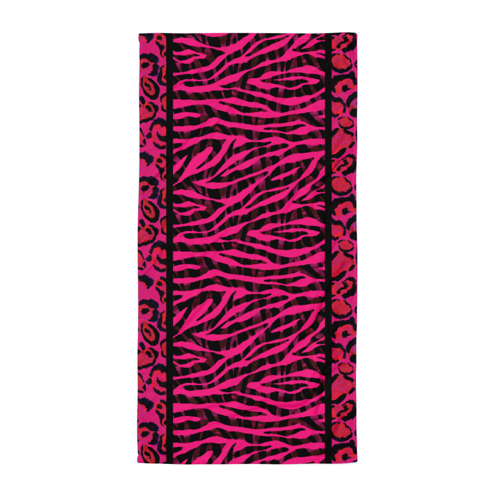 Hot Pink Animal Print - Beach Towel