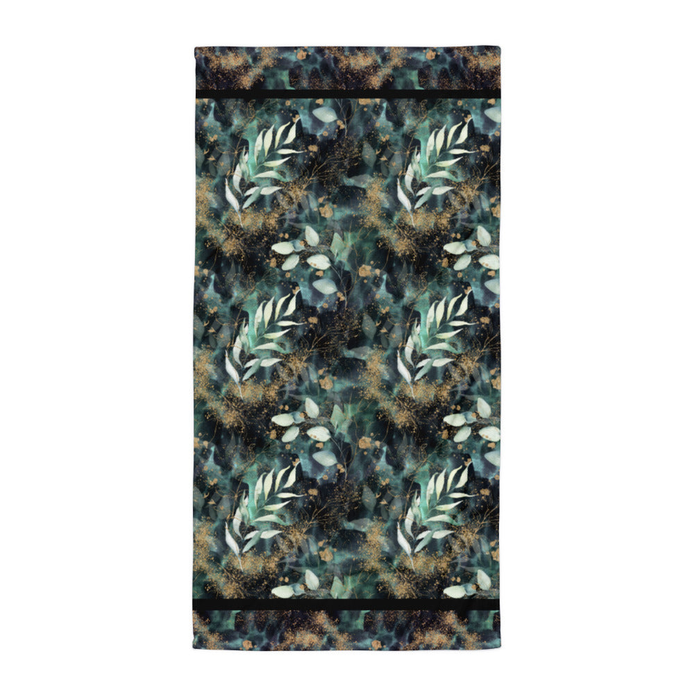 Turquoise, Black and Gold Spatter - Beach Towel