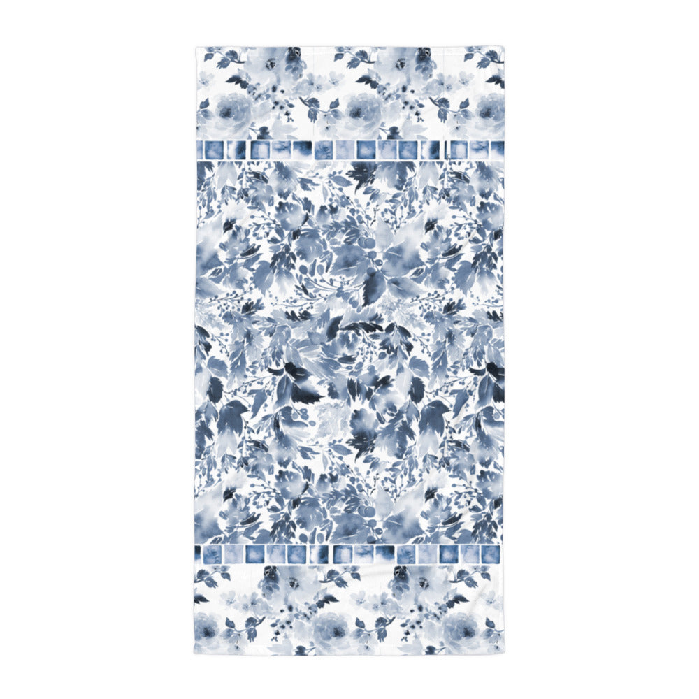 Dark Blue Watercolor Flowers - Beach Towel