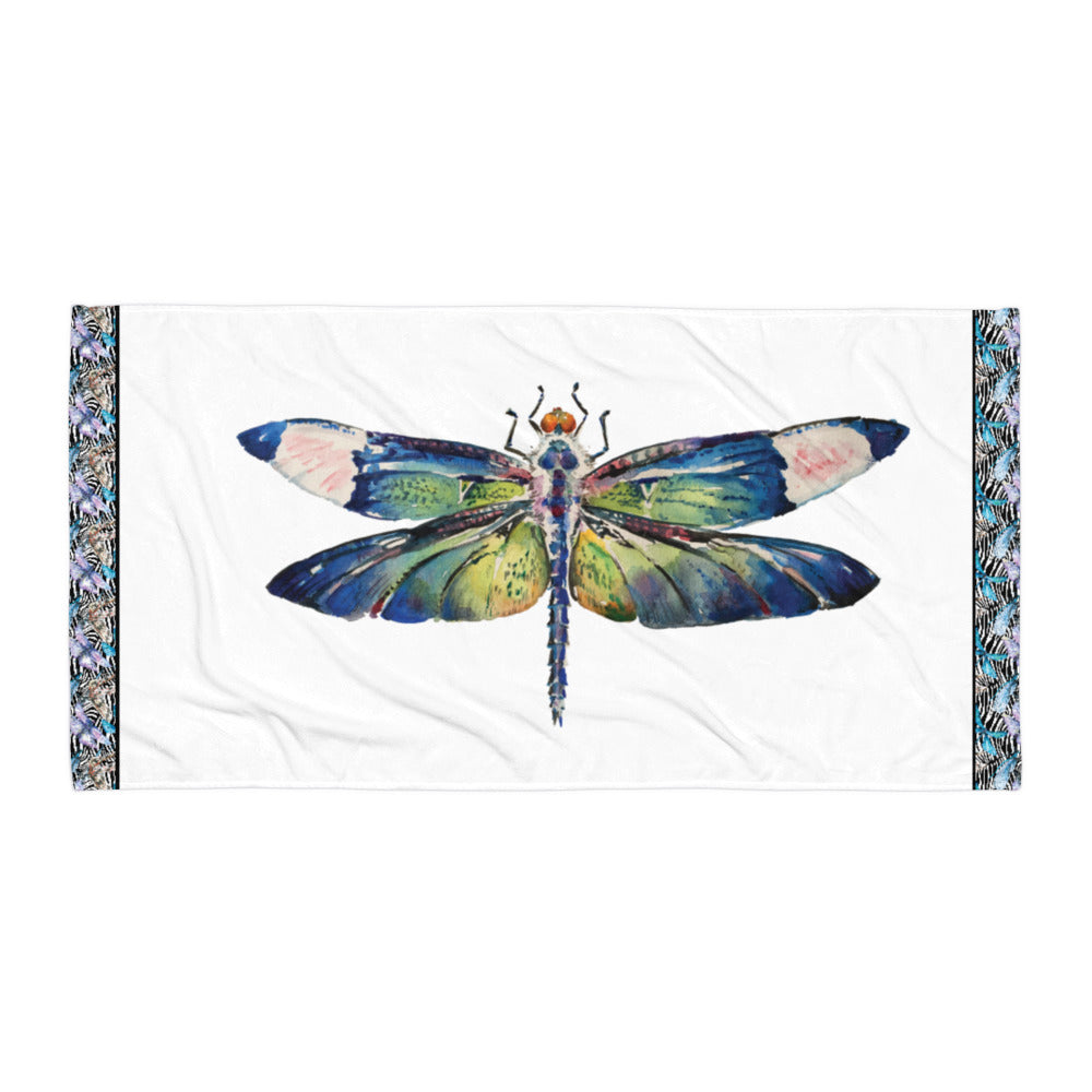 Watercolor Dragonfly - Beach Towel