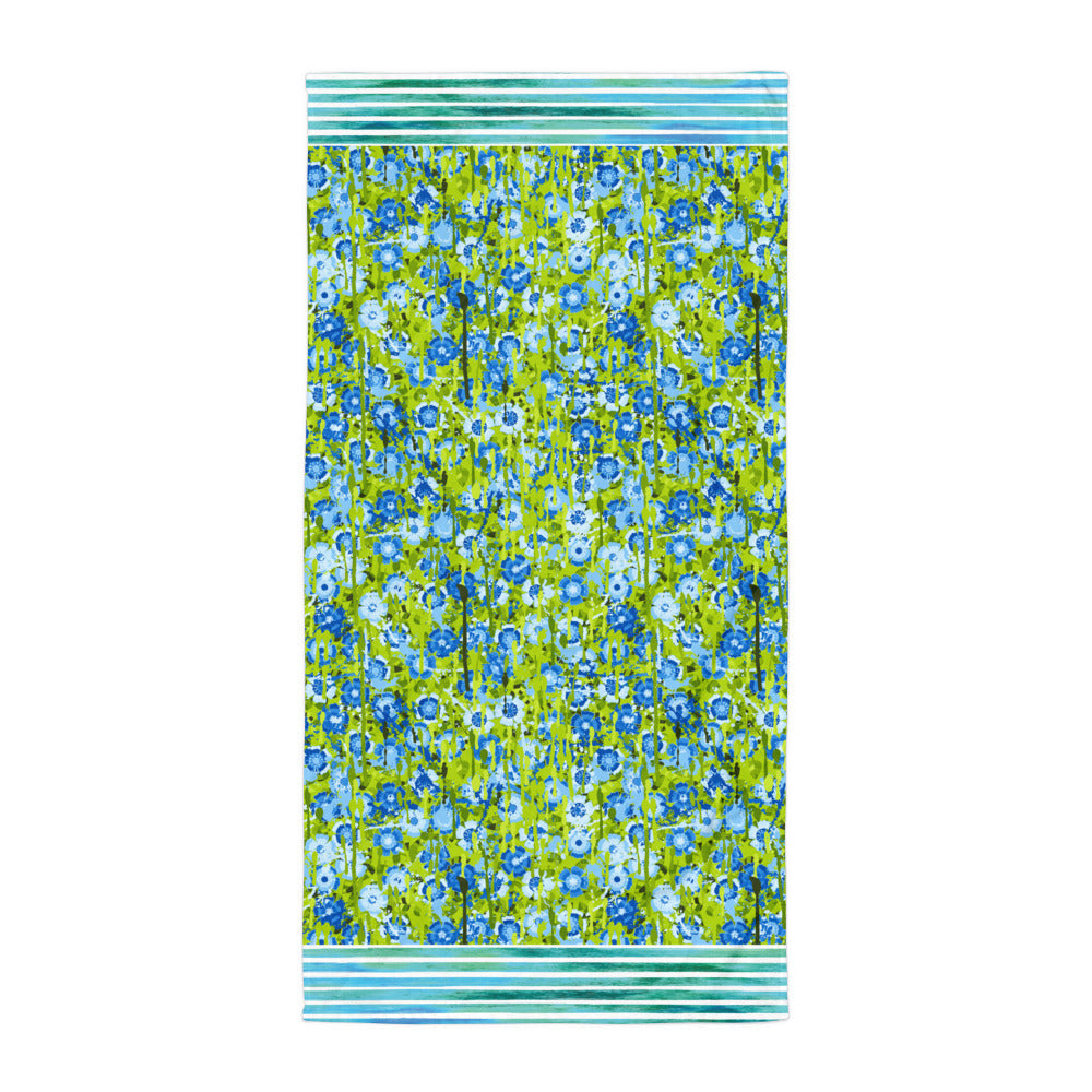 Blue and Green Flowers and Stripes - Beach Towel