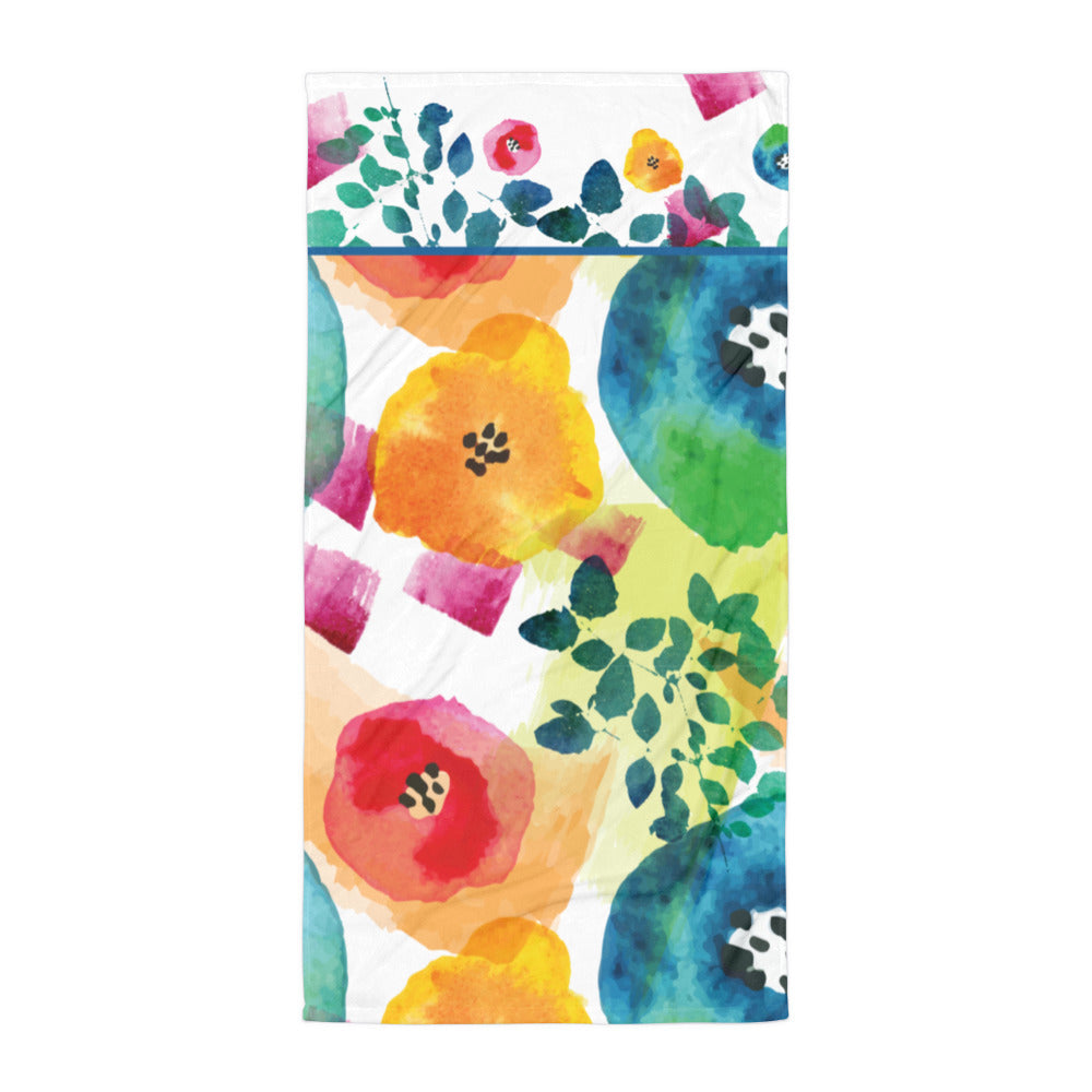 Watercolor Flowers - Beach Towel