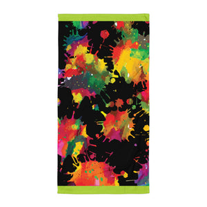 Neon Paint Splotches Towel