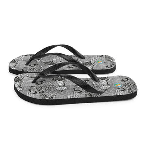Black and White Floral Doodles - Flip-Flops