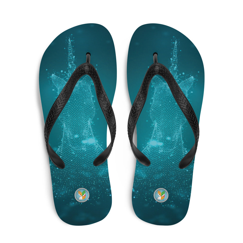 Unicorn on Turquoise - Flip-Flops